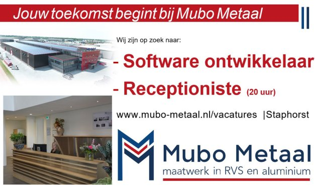 Mubo metaal zoekt een receptioniste en een software ontwikkelaar