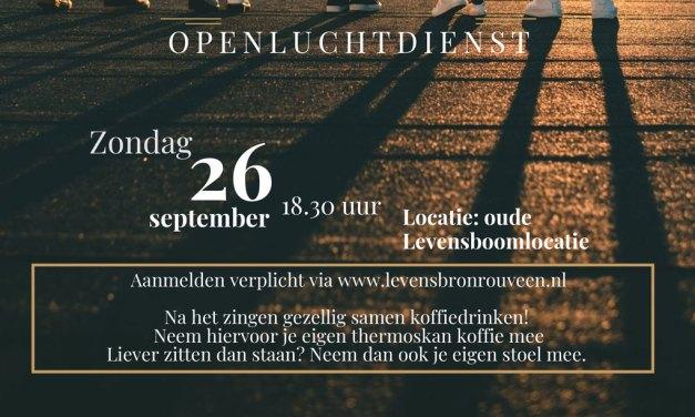 """Zondag 26 september Openluchtdienst """"Feest, samen zingen"""" in Rouveen"""