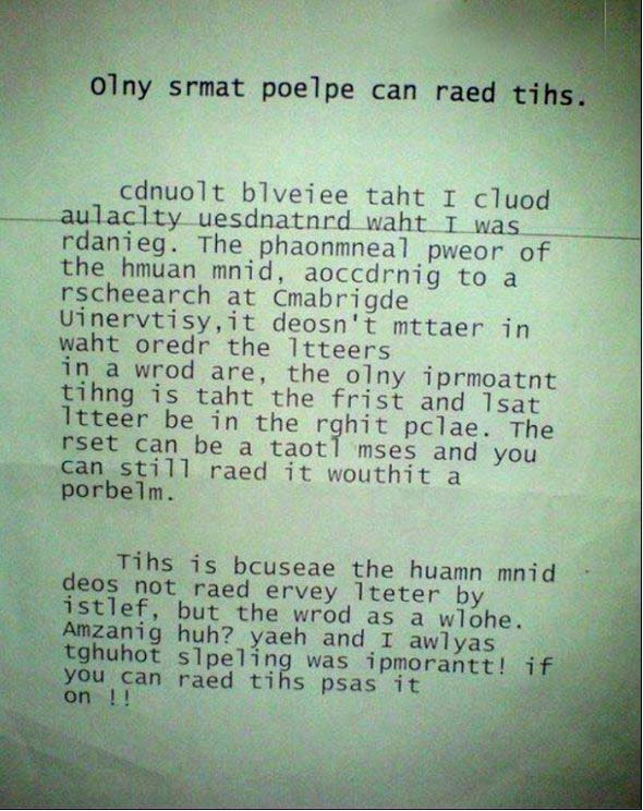 Alleen slimme mensen kunnen dit lezen