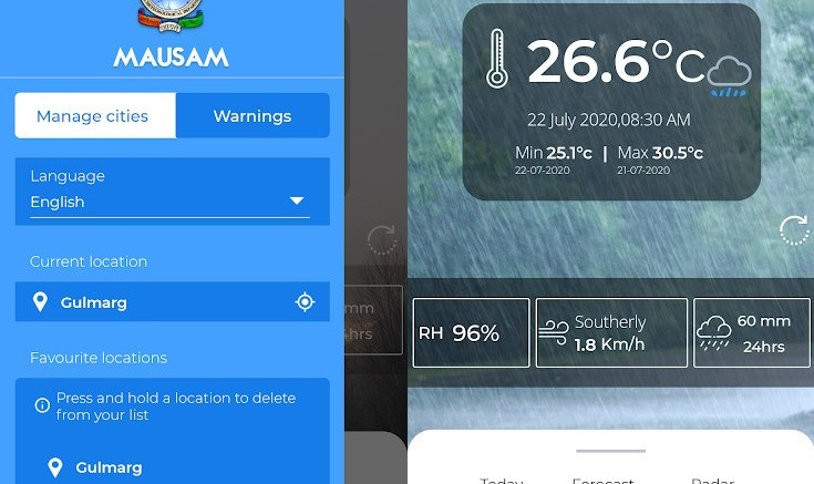 """Mobile App """"Mausam"""": Users can access observed weather & forecasts"""
