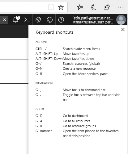 Azure Keyboard Shortcuts
