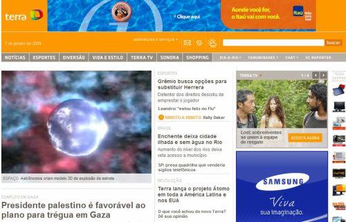Detalhe da nova homepage do portal Terra