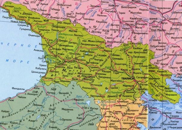 Подробная карта Грузии на русском языке скачать бесплатно ...