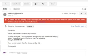 Gmail Suspicious Dangerous Email with reasons