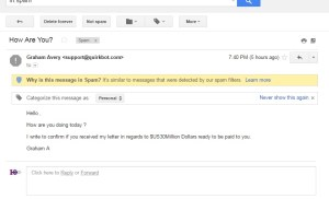 Gmail Suspicious Email Spam with reasons