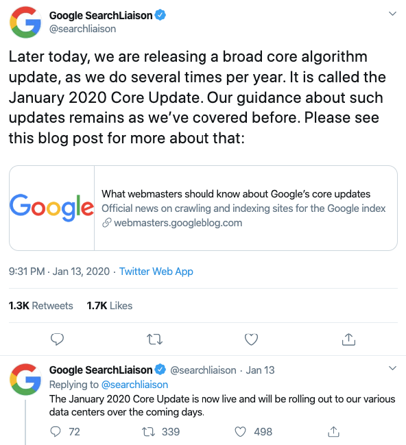 Googles new Update called Jan 2020 CORE Update