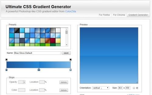 UltimateCSSGradientGeneratorのスクショ