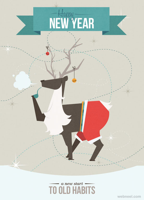 50 Beautiful New Year Greetings Card Designs For Your