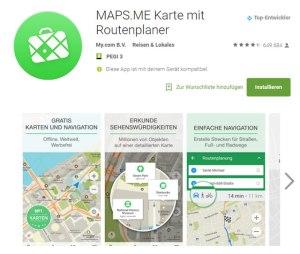 Maps.me Routenplaner offline Karten App
