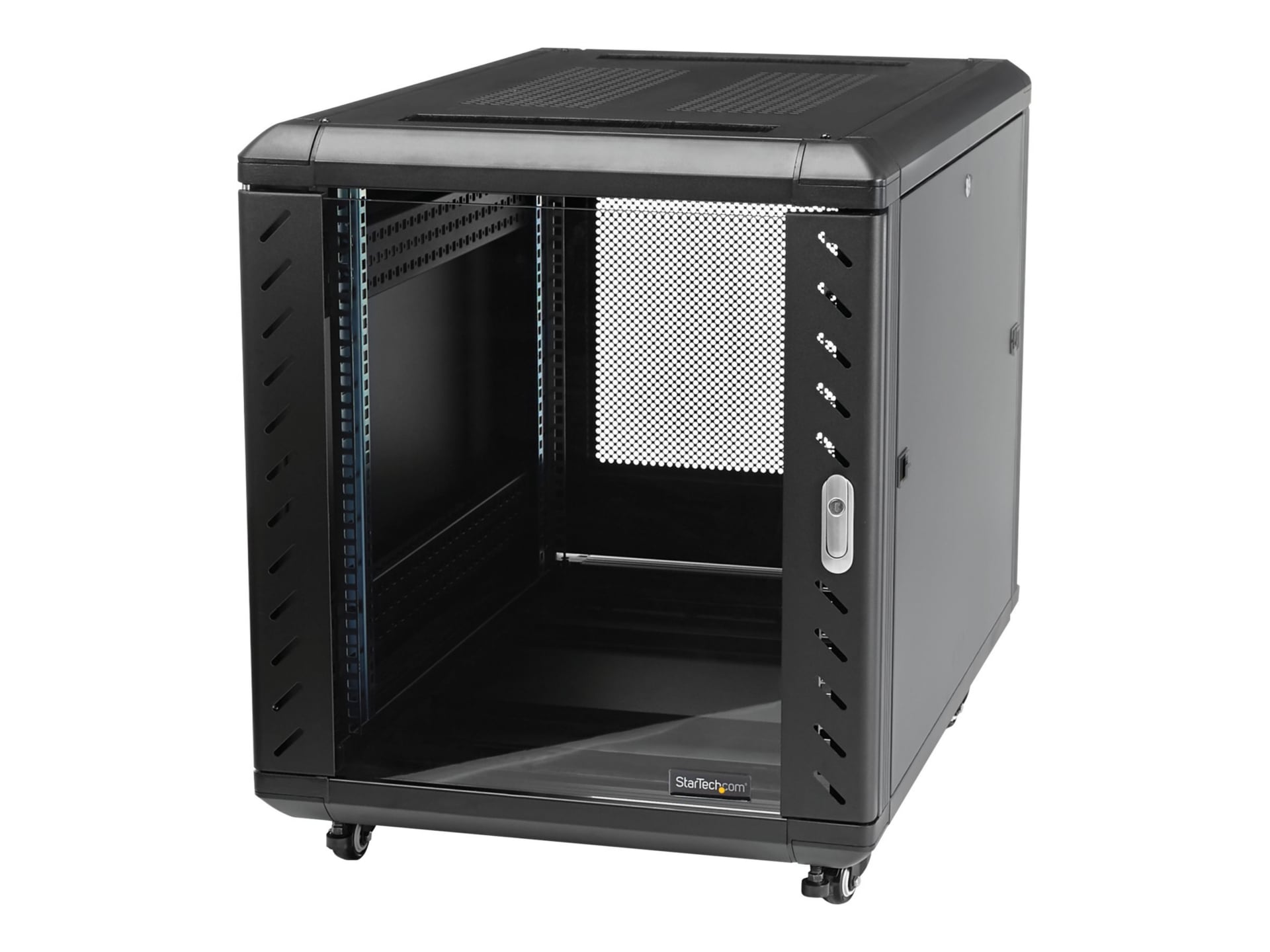 startech com 12u 36in knock down server rack cabinet with casters