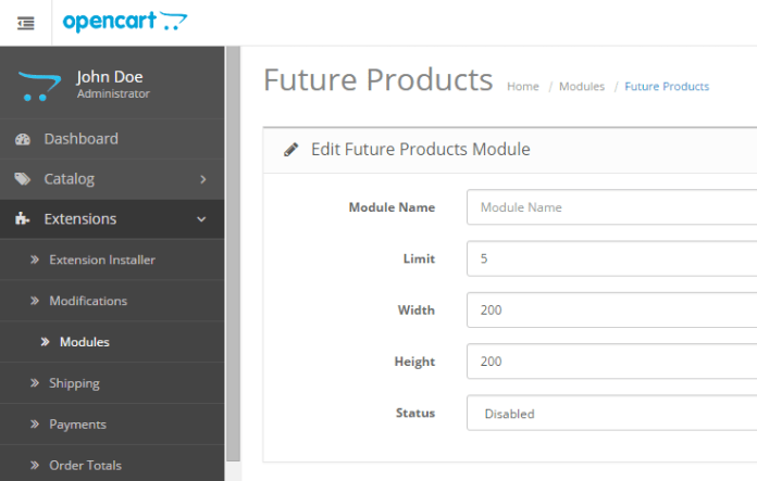 future products opencart module