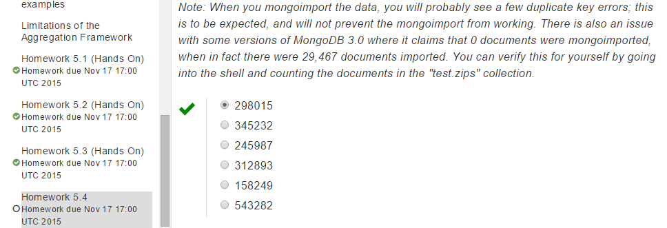 mongodb university homework 3.3 answers