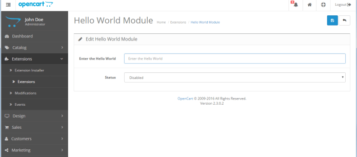 helloworld form opencart module development