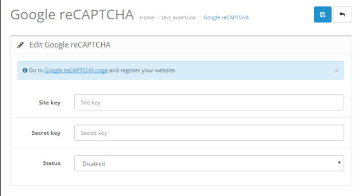 Setup Google reCaptcha Basic Captcha in OpenCart version 2 0