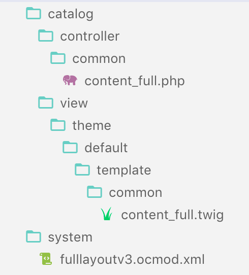 files and folders of full content top module