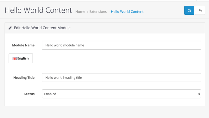 Hello world content settings of Opencart