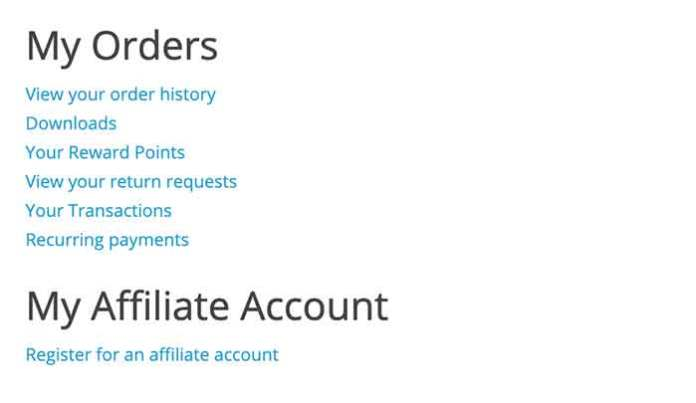 Register for an affiliate account in Opencart