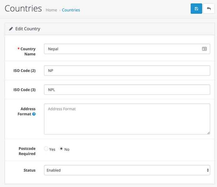 edit or add countries in Opencart