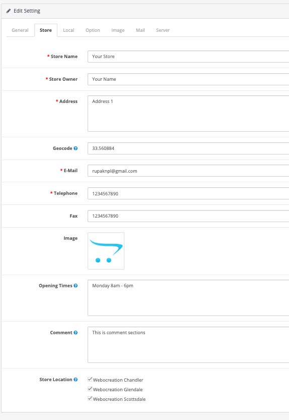 Show location on the contact us page Opencart