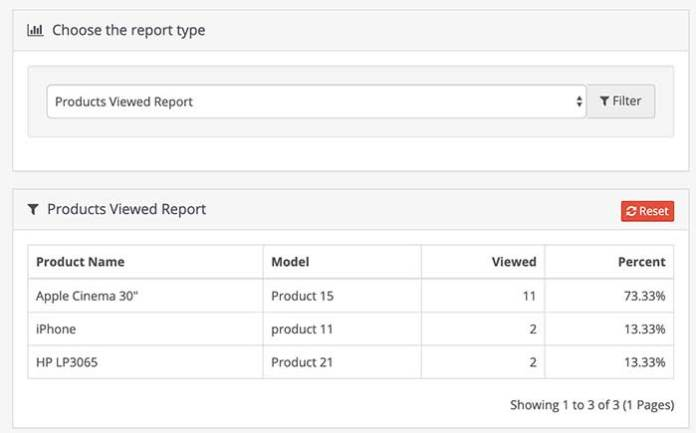 Products viewed report Opencart