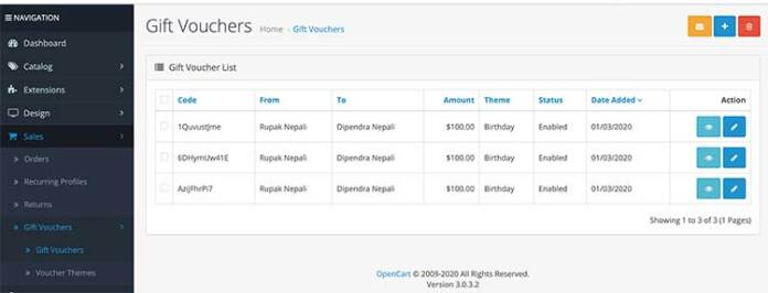 Gift vouchers created Opencart