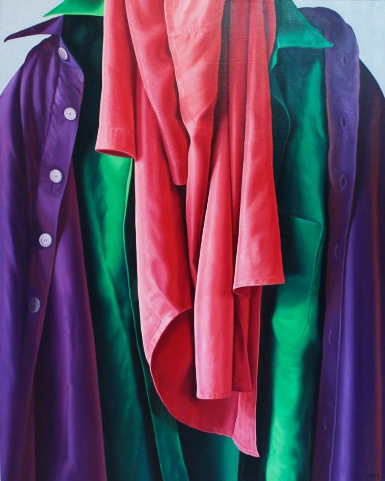 Alberto Magnani, Camicie appese, 2018, olio su tela, 90 x 70 cm