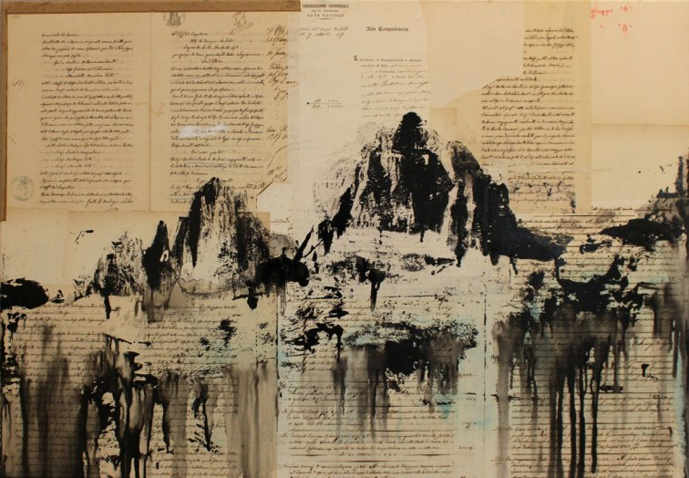 DANIELE CESTARI, Verso il cielo, 2018, tecnica mista su carta antica incollata su tela, 70 x 100 cm