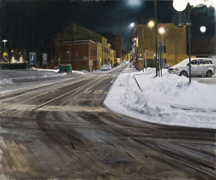 NANNINI NICOLA, Neve, ora tarda, 2019, olio su tela, 100x120 cm