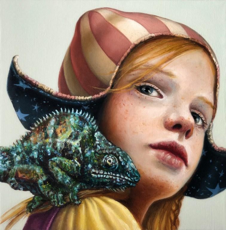 Bimba con camaleonte - Souvenir XVIII, 2020, olio su tela, 20x20 cm