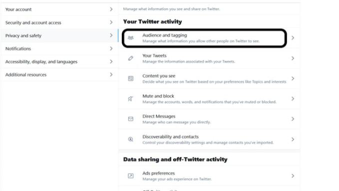 Audience and tagging option in twitter