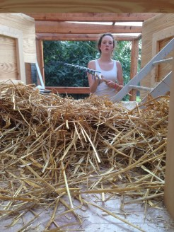 Natalie mucking out the coop