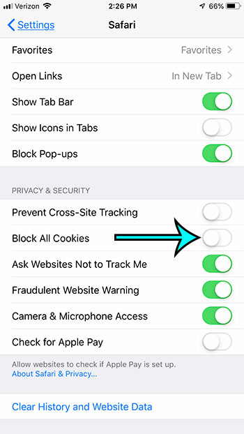 how to enable cookies in safari on iphone 7