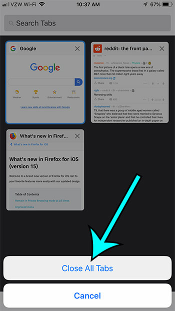 how to close all tabs in firefox on an iphone