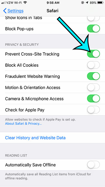 what is prevent cross site tracking in safari on iphone