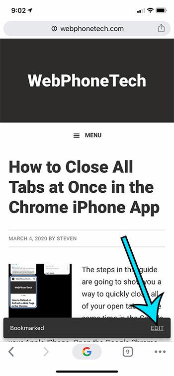 how to edit a Google Chrome bookmark