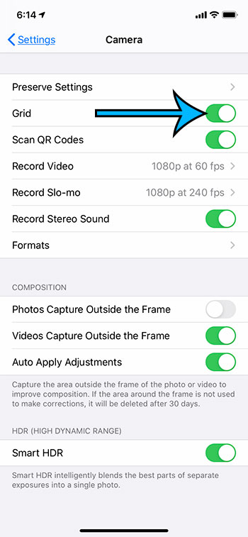how to show lines on the Camera on an iPhone