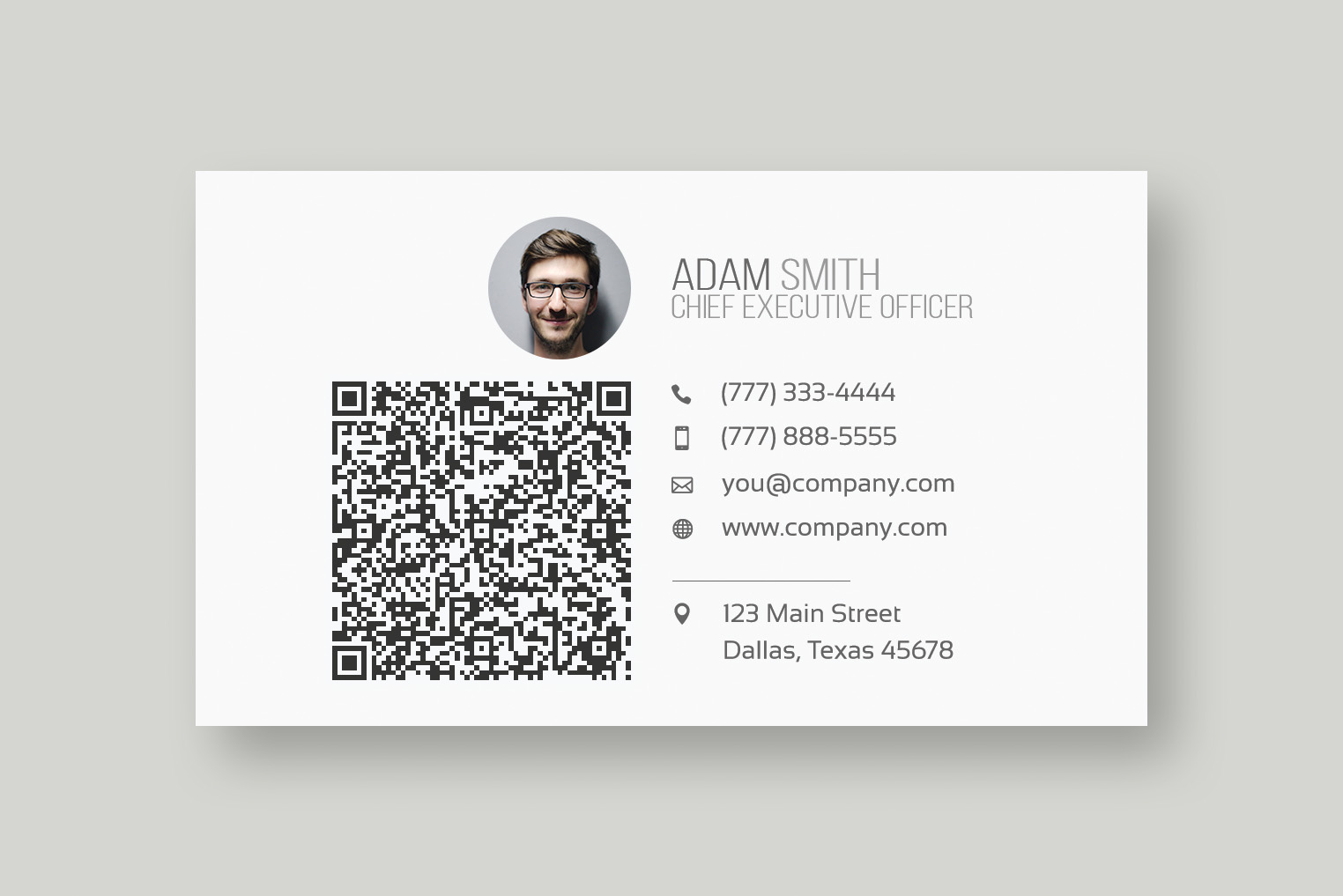 Modern QR Code Business Card Template - Web Plant Media