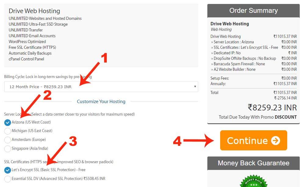 Buying Hosting Order Summary