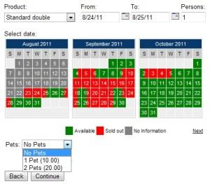 Pet fee on booking calendar