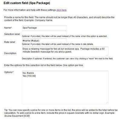 Custom Field example - Spa Package