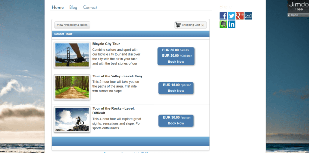 Embedded booking calendar