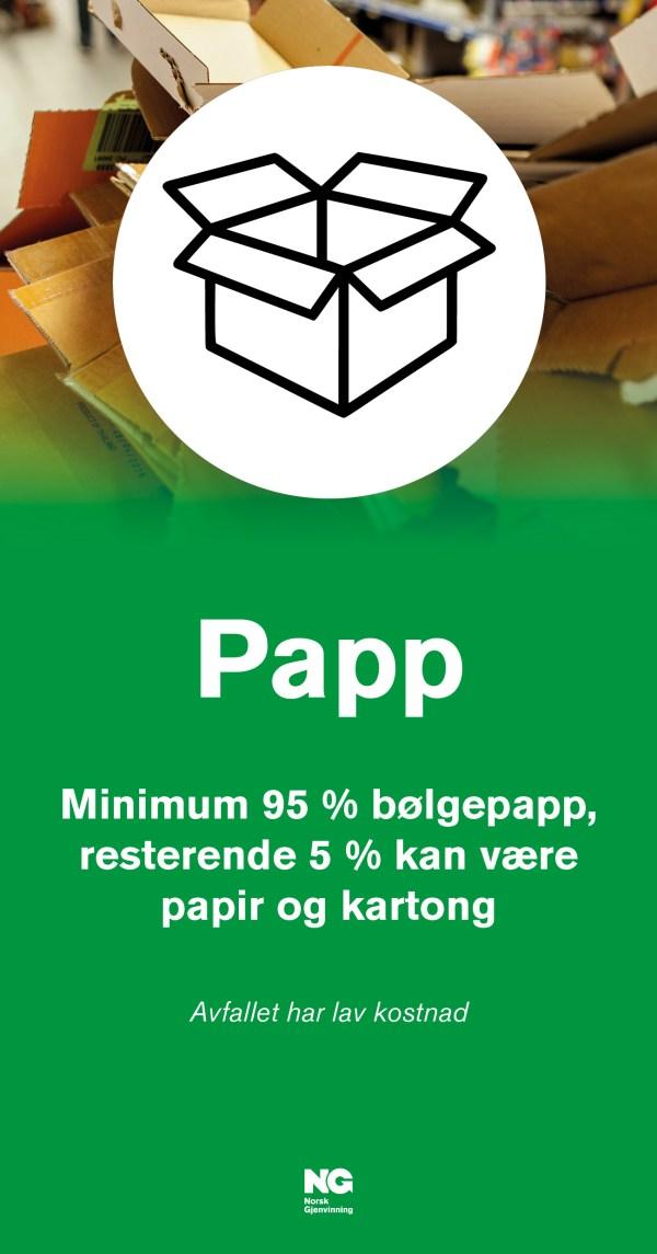 Informasjonsskilt om avfallstypen PAPP 22x42