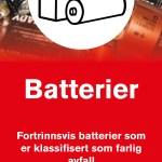 Informasjonsskilt om avfallstypen Batterier