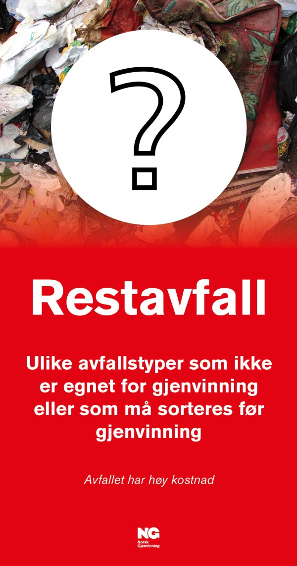 Restavfall Veggskilt str 22x42
