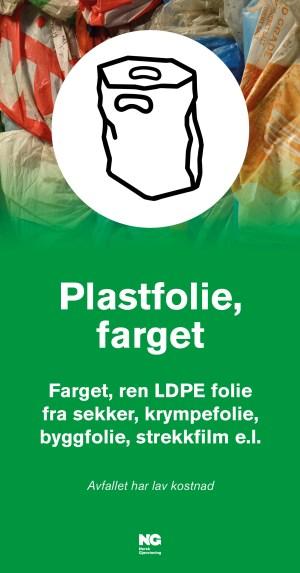 Informasjonsskilt om avfallstypen farget Plastfolie 22x42