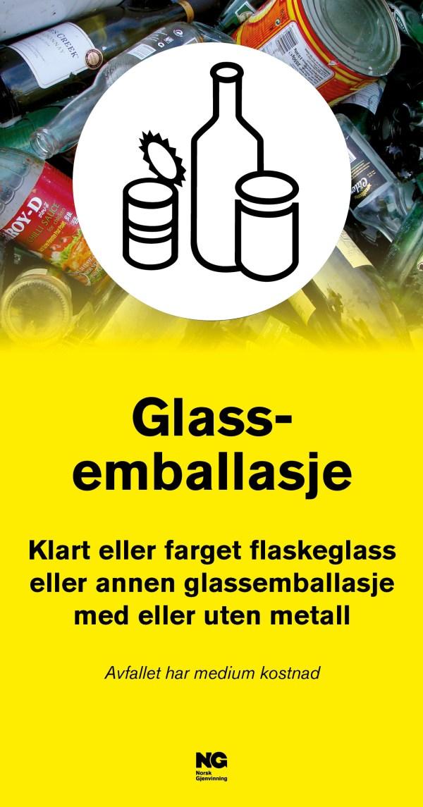 Informasjonsskilt om avfallstypen Glassemballasje 22x42 cm