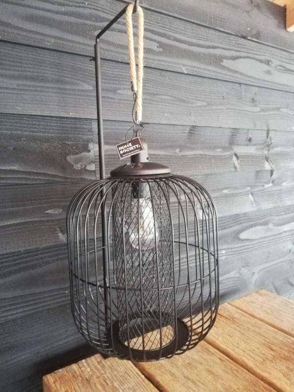 Hanglamp solar, zwart metaal met touw