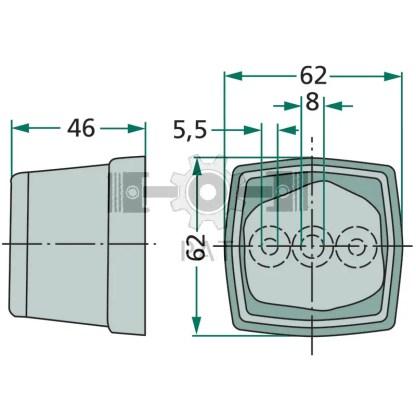 — 4552TM 003057031 — met reflector rood, achterplaat van slagvast kunststof, glas met klikbevestiging. 2 gaten voor M5 bo —
