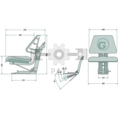— 24000061 — ● geveerde zitting met veerinstelling voor een gewicht van 50 tot 120 kg,  ● veerweg 120 mm, vering —