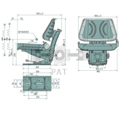 — 24000093 — • geveerde zitting met regeling van 50-120 kg • veerslag 80-100 mm • hoogteverstelling 60 mm • lengt —